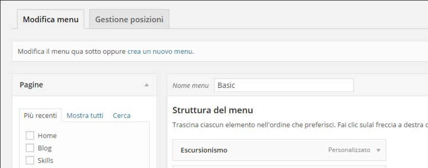 WordPress 3.0 Menu personalizzati