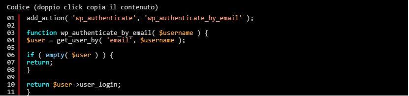 WordPress: utilizzare la email come login