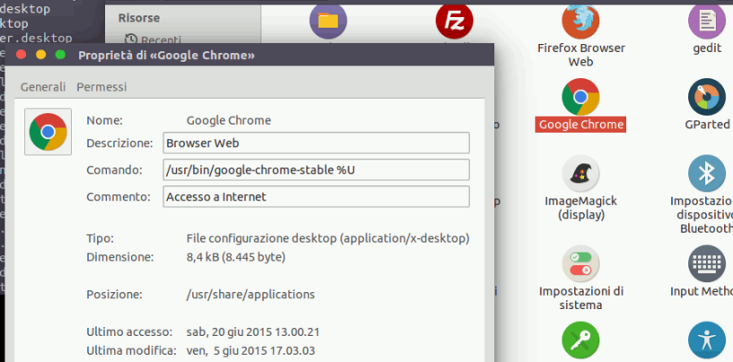 Ubuntu icona di un programma sul desktop