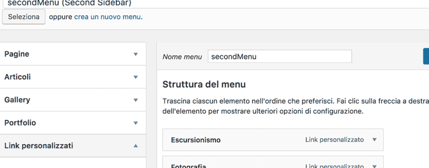 WordPress: Link del menu in nuova finestra.